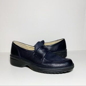 Choice Navy Blue Leather Suede Slip On Loafers
